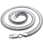 """KONOV Jewellery Stainless Steel Mens Necklace Snake Chain - Silver 8mm 22.4"""""""
