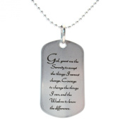 Serenity Prayer Stainless Steel Dog Tag Necklace