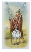 Round St. Peter Medal with Prayer Card