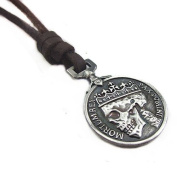 Brown Real Leather and Alloy Pendant Adiustable Necklace Mens Necklace Unisex Necklace Cool Necklac Pl231