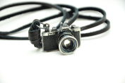 Black Real Leather and Alloy Camera Pendant Adjustable Necklace Mens Necklace Unisex Necklace Cool Necklace Pl1356