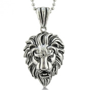 Ferocious Mens Lion Necklace in Stainless Steel