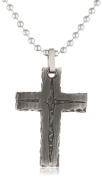 Men's Stainless Steel Stone Finish with Black IP Cross Pendant Necklace