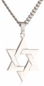 Men's Sterling Silver Star of David Pendant, 61cm