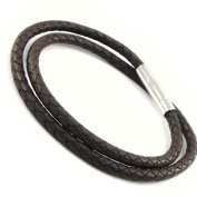 """Necklace for men """"Tony"""" dark brown leather."""
