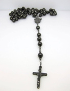 14k BLACK GOLD FINISH MENS ROSARY CHAIN NECKLACE CROSS