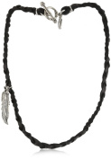 Ettika Men's Black Braided Deerskin Bracelet with Silver Coloured Feather Pendant Necklace s