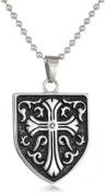 Cold Steel Stainless Steel 0.05Ct Black Diamond Celtic Cross Shield Men's Pendant Necklace