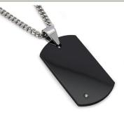 Men's Black Tungsten Carbide Dog Tag with Diamond 55.9cm Steel Curb Link Chain