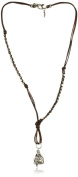 "Ettika "" Men's"" Silver Feather and Buddha Charm Round Brown Leather Necklace"