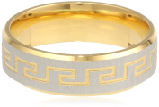 Men's Stainless Steel 18 K Gold Plated with Greek Key Design Ring, Size 10