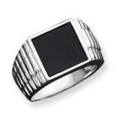 Sterling Silver Mens Onyx Ring - Size 11 - JewelryWeb