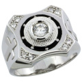 Sterling Silver Men's CZ Ring w/ Star Accents & Cross on Sides, 5/8 in. (16mm) wide, size 9