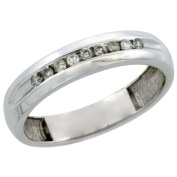 10k White Gold Men's Diamond Ring Band w/ 0.33 Carat Brilliant Cut Diamonds, 3/16 in. (5mm) wide, Size 8.5