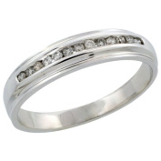 10k White Gold Men's Diamond Ring Band w/ 0.20 Carat Brilliant Cut Diamonds, 3/16 in. (5mm) wide, Size 11.5