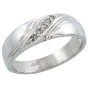 14k White Gold Men's Diamond Ring Band w/ 0.10 Carat Brilliant Cut Diamonds, 1/4 in. (7mm) wide, Size 10