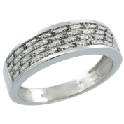 14k White Gold Men's Diamond Ring Band w/ 0.12 Carat Brilliant Cut Diamonds, 1/4 in. (6.5mm) wide, Size 11.5