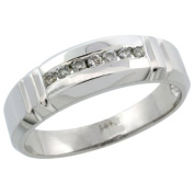 14k White Gold Men's Diamond Ring Band w/ 0.14 Carat Brilliant Cut Diamonds, 1/4 in. (6.5mm) wide, Size 14