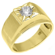 14k Yellow Gold Mens Solitaire Round Diamond Ring .74 Carats