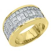 18k Yellow Gold Mens Invisible Set Princess & Baguette Diamond Ring 3.17 Carats