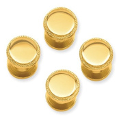 Gold-plated Four Piece Polished Beaded Tuxedo Studs