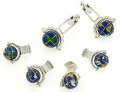 JJ Weston handpainted spinning globe cufflinks and shirt studs formal set with presentation box. Made in the USA