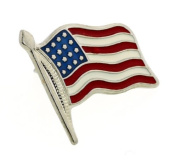 JJ Weston American Flag Stars and Stripes Tie Tac with Presentation Box. Made in the USA