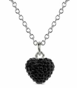 Heart Pendant 925 Sterling Silver Authentic Black Diamond Colour Heart Shape Pendant Crystals. chain Not Included)