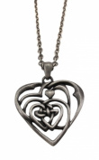 Solid Pewter Celtic Knotwork Heart Pendant Necklace