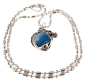 Rhodium Dragon Lt Blue Marble Orb Pendant Bead Necklace
