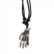Chrome Plated Skeleton Hand Pendant Adjustable Cord Necklace