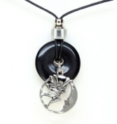 Onyx and Diamond Cut Pewter Pendant Necklace - Fairy & Moon