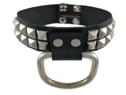 Black Leather Studded D Ring Choker Fetish Collar Sub