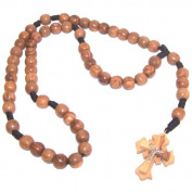 Long Round smooth 14mm large Beads olive wood Rosary (60 cm or 24 inches long) with Certificate