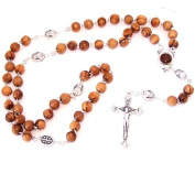 Olive wood beads Rosary made with Silver our Father beads and Soil Rosary Centre from the Holy Land. Comes with gift Bag and Certificate