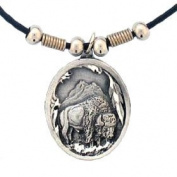 Earth Spirit Necklace - Buffalo & Feather - Earth Spirit Necklace