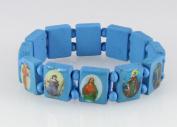 4030464 Wood Holy Saints and Icons Christian Jesus Christ Stretch Bracelet Catholic