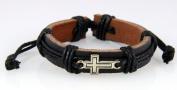 4030532 Christian Cross Leather Bracelet Scripture Jesus Bible Religious