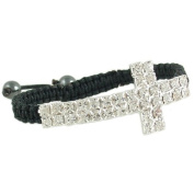 Heirloom Finds Black Macrame Iced Out Crystal Sideways Cross Bracelet Adjustable One Size Fits Most