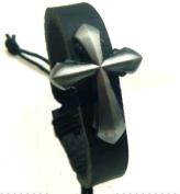 4030047 Christian Religious Scripture Inspirational Cross Leather Bracelet