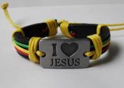 4030046 Christian Religious Scripture Inspirational I Love Jesus Leather Bracelet