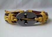 4030050 Christian Religious Scripture Inspirational Cross Leather Bracelet