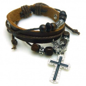 4030044 Christian Religious Scripture Inspirational Cross Leather Bracelet