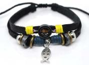 4030071 Christian Religious Scripture Inspirational Cross Leather Bracelet