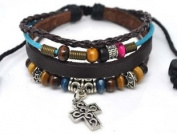 4030063 Christian Religious Scripture Inspirational Cross Leather Bracelet
