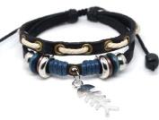4030067 Christian Religious Scripture Inspirational Cross Leather Bracelet