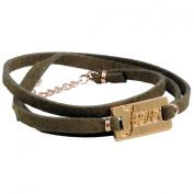 "Brown Soft Leather & Jesus Tag ""Multi-wrap"" Long Bracelet"