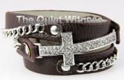 4030311 Brown Christian Cross Wrap Style Leather Silver Bracelet