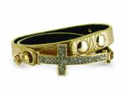 4030493 Christian Cross Leather Wrap Bracelet Bible Religious