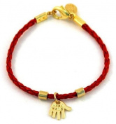 Red Leather Hamsa Bracelet with Gold Plated Charms for Children